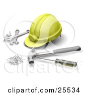 Clipart Illustration Of A Yellow Hardhat With Wrenches A Screwdriver Hammer And Nails