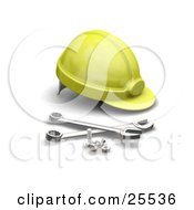 Clipart Illustration Of A Yellow Hardhat With Bolts And Wrenches