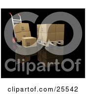 Clipart Illustration Of A Dolly With Boxes Parked By A Pallet With Cardboard Boxes
