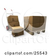 Clipart Illustration Of A Hand Truck With Boxes Parked By A Pallet With Cardboard Boxes