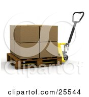 Clipart Illustration Of A Large Cardboard Box Being Moved On A Pallet Truck
