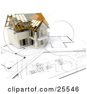 Partially Built Two Story Home On Top Of Blue Prints