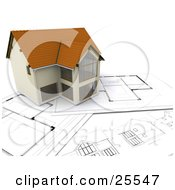 Clipart Illustration Of A Beautiful Custom Two Story Home Resting On Top Of Blueprints by KJ Pargeter