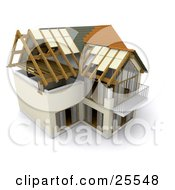 Clipart Illustration Of A Partially Built Two Story Home With A Balcony And Large Windows