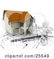 Clipart Illustration Of A White Character Leaning Against A Custom Two Story Home Leaning Against A Drawing Compass With A Ruler And Pen On Blueprints
