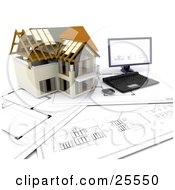 Clipart Illustration Of A Partially Built Two Story Home And A Computer Resting On Blueprints