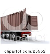 Clipart Illustration Of A Semi Truck With The Doors Open On The Cargo Container