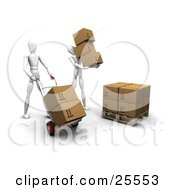 Clipart Illustration Of A Couple Of White Figure Characters Moving Boxes To A Pallet In A Warehouse
