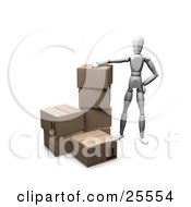 Clipart Illustration Of A White Figure Character Resting His Arm On A Stack Of Cardboard Shipping Boxes