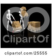 White Figure Characters Carrying Boxes And Moving Them With Hand Trucks