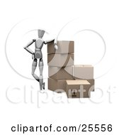Clipart Illustration Of A White Figure Character Working In A Shipment Warehouse Leaning Against Stacked Shipping Boxes