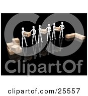 Clipart Illustration Of A Group Of White Figure Characters Helping Each Other Move Boxes While Working In A Warehouse