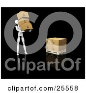 Clipart Illustration Of A White Figure Character Carrying Three Cardboard Boxes To Stack Them On A Pallet