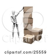 Clipart Illustration Of A White Figure Character Standing By A Stacked Pile Of Cardboard Shipping Boxes