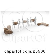 Clipart Illustration Of A Group Of White Figure Characters Helping Each Other Move Boxes From One Stack To Another by KJ Pargeter