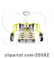 Clipart Illustration Of A Yellow Metal Pallet Truck Pulling A Wooden Pallet In A Warehouse by KJ Pargeter