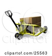 Yellow Pallet Truck Moving A Large Cardboard Box