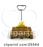 Clipart Illustration Of A Black Handled Yellow Pallet Truck Moving A Wooden Pallet In A Warehouse by KJ Pargeter