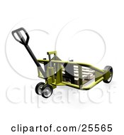 Clipart Illustration Of A Wooden Pallet On A Yellow Metal Pallet Truck In A Warehouse