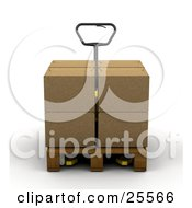 Clipart Illustration Of A Pallet Truck Moving A Big Cardboard Box