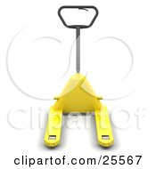 Clipart Illustration Of A Black Handled Yellow Pallet Truck by KJ Pargeter