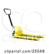 Clipart Illustration Of A Yellow Pallet Truck With A Black Handle In A Warehouse by KJ Pargeter