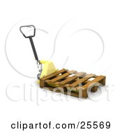 Clipart Illustration Of A Black Handled Yellow Pallet Truck In A Warehouse Moving A Wooden Skid Pallet