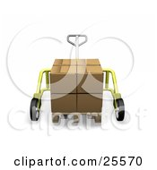 Clipart Illustration Of A Large Cardboard Box On A Pallet Truck