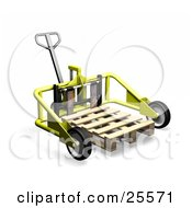 Clipart Illustration Of A Yellow Metal Pallet Truck Pulling A Wood Pallet In A Warehouse by KJ Pargeter