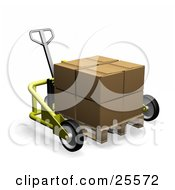 Clipart Illustration Of A Big Cardboard Box On A Pallet Truck by KJ Pargeter