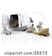 Clipart Illustration Of A White Characters Working Together With A Dolly And Pallet Truck To Load Shipping Boxes Into A Delivery Van by KJ Pargeter