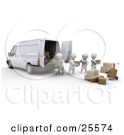 Team Of White Characters Unloading Or Loading A Delivery Van With Cardboard Shipping Boxes