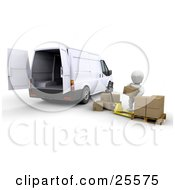 Clipart Illustration Of A White Character Loading Shipping Boxes Into A White Delivery Van by KJ Pargeter