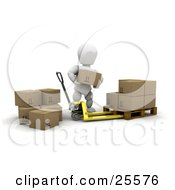 Clipart Illustration Of A White Character Stacking Cardboard Boxes Onto A Pallet Truck While Preparing A Shipment
