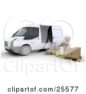 Clipart Illustration Of A White Character Loading Shipping Boxes From A Pallet Truck Into A White Delivery Van by KJ Pargeter
