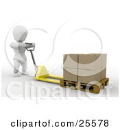 White Character Moving Stacked Cardboard Boxes On A Pallet Truck