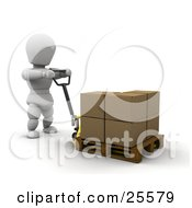 White Character Pulling A Pallet With Boxes On A Hand Truck