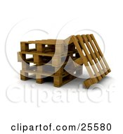 Clipart Illustration Of One Wooden Pallet Leaning Against A Stack