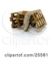 Clipart Illustration Of A Wooden Pallet Leaning Against A Stack