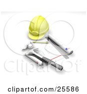 Clipart Illustration Of A Yellow Hardhat Blueprints Ruler Pencil And Hammer by KJ Pargeter