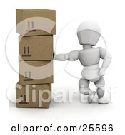 Clipart Illustration Of A White Character Leaning Against A Stack Of Cardboard Shipping Boxes