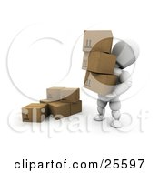 Clipart Illustration Of A White Character Carrying Three Cardboard Boxes And Moving Them To A Pile
