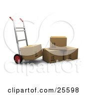 Hand Truck With One Box Loaded Parked By Three Cardboard Boxes