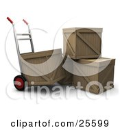 Hand Truck Beside A Stack Of Three Shipping Crates Moving One Crate