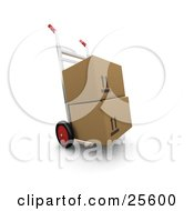 Two Cardboard Boxes Stacked On A Sack Truck