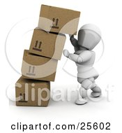 White Character Trying To Steady A Leaning Boxes Of Cardboard Shipping Boxes