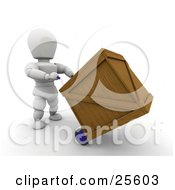 White Character Transporting A Heavy Shipping Crate On A Dolly