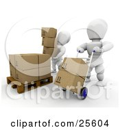 Two White Characters Working In A Shipment Warehouse One Stacking Boxes On A Pallet The Other Moving Boxes On A Dolly