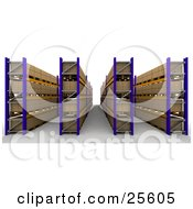 Clipart Illustration Of Rows Of Cardboard Boxes Organized In Shelves In A Warehouse