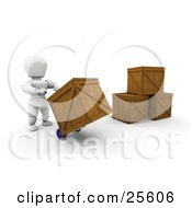 White Character Lifting Up A Wooden Shipping Crate On A Hand Truck